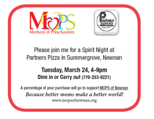 MOPS Partners Pizza Flyer
